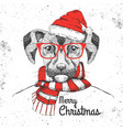 christmas hipster fashion animal dog vector image vector image