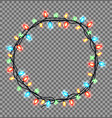 colorful round frame of christmas lights sparkling vector image vector image