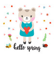 cute little bear with heart hello spring funny vector image vector image