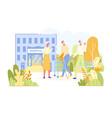 elderly people meet and talk in hospital park vector image vector image
