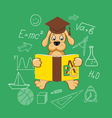 flat elements of education with dog vector image