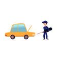 flat mechanic boy with screwdriver near car vector image vector image