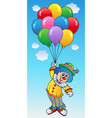 flying clown with cartoon balloons vector image