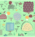 forest seamless pattern background with plants and vector image vector image
