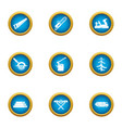 forestry business icons set flat style vector image vector image