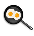 fried eggs on frying pan top view isolated food vector image vector image
