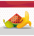 fruits fresh organic healthy watermelon lemon vector image