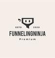 funneling ninja hipster vintage logo icon vector image