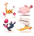 giraffe pig cat dog animals vector image vector image