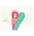 Girl with the snowboard on winter landscape vector image