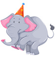 Gray elephant with party hat vector image vector image