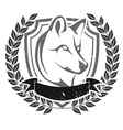 Grunge wolf head emblem vector image vector image