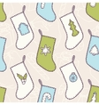 Hand drawn different sewn christmas sock seamless vector image