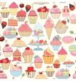 Hand-drawn seamless cupcake pattern vector image vector image