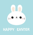 happy easter white bunny rabbit round face head vector image
