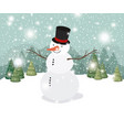 mery christmas card with snowman in snowscape vector image vector image