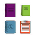 notebook icon set color outline style vector image vector image