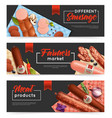 sausage banners set vector image vector image