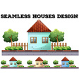 Seamless house design on the road vector image vector image