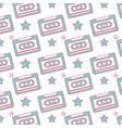 seamless pattern retro cassette tape recorder vector image vector image