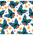 seamless pattern with cute owl in cartoon vector image