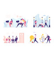 set business characters communicate in office vector image vector image