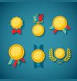 set of golden awards for rewarding ceremony vector image