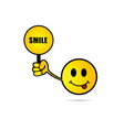smiley yellow cartoon with card vector image vector image