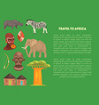 travel to africa banner template with advertising vector image vector image