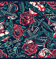 vintage colorful tattoos seamless pattern vector image