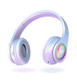white and pearl headphones isolated on white vector image