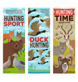 wild animals and birds hunting sport banners vector image vector image
