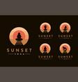 yoga pose logo set in sunset beach logo vector image vector image