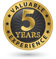 5 years valuable experience gold label vector image vector image