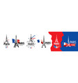 a set icons eiffel tower in paris vector image