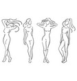 a set of female figures collection of outlines of vector image vector image
