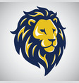 blue yellow lion mascot logo template vector image vector image