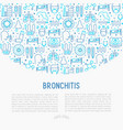 bronchitis concept with thin line icons vector image vector image