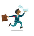 businessman running with briefcase and documents vector image