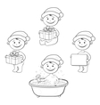 Cartoon children in Santa hat outline vector image vector image