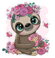 cartoon sloth with flowers on a white background vector image vector image