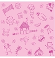 child drawing doodle set holiday vector image vector image