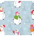 christmas snowman pattern holiday snowmen x-mas vector image vector image