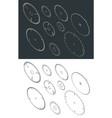 circular blade saw isometric drawings set vector image vector image