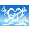 Cloud hearts in the sky vector image vector image