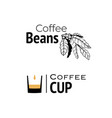 coffee logo hand drawn and minimal cup with vector image