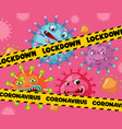 coronavirus poster design with virus cells and vector image