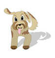 cute beige mottled dog running with torn tongue vector image vector image