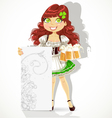 Cute girl with glasses of beer and blank banner vector image vector image