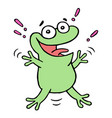cute lucky smiling green toad vector image vector image